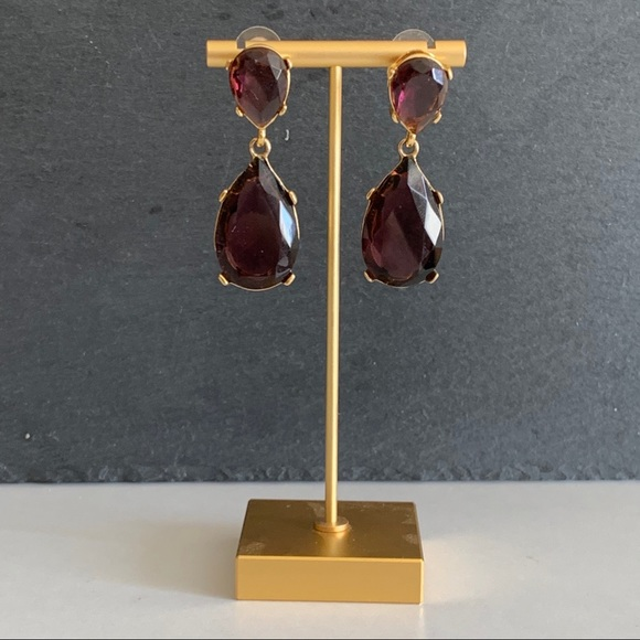 Kenneth Jay Lane purple statement drop earrings.
